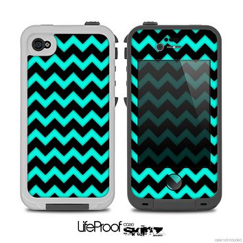 The Aqua Blue & Black Chevron Pattern Skin for the iPhone 4-4s LifeProof Case