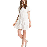 CeCe by Cynthia Steffe Kayte Floral-Lace Shift Dress - Light Cream