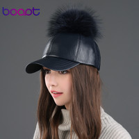 BOAPT good pu leather cap real raccoon fur pompom hat for women hats with spring summer sun baseball cap hip hop casual snapback
