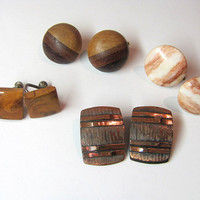 vintage costume lot of wooden and metal clip on earrings // 4 pairs