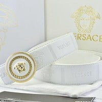 Versace Fashion Smooth Buckle Belt Leather Belt-10