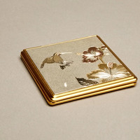 Compact Dual Mirror Original Chokin Art Collection HummingBird Floral 24Kt Vintage Accessory
