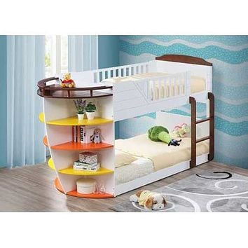 """White And Chocolate Twin Over Twin Bunk Bed With Storage Shelf 100"""" X 41"""" X 57"""""""