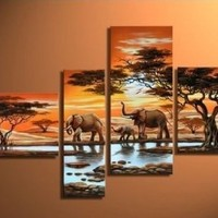 100% Hand-painted Best-selling Quality Goods Free Shipping Wood Framed on the Back African Forest Tree Elephants Hill High Q. Wall Decor Landscape Oil Painting on Canvas 4pcs/set Mixorde