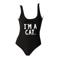 I'm a CAT Black One Piece Swimsuit