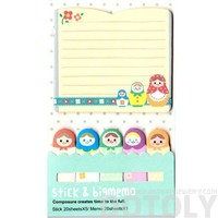 Large Russian Nesting Doll Shaped Lined Memo Post-it Sticky Bookmark Pad