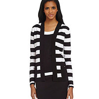 Jones New York Collection Open-Front Striped Cardigan - Black/White