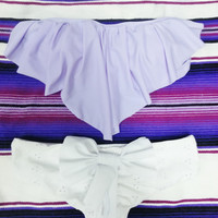 White Eyelit Bow Bikini Bottoms : Choose Your Coverage
