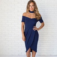 Forever Elegant Midi Dress In Navy Blue