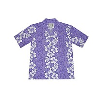 KY's Mens Button Down Purple Hawaiian Shirt with Hibiscus
