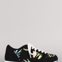 Women's Soda Floral Lace Up Flatform Sneakers