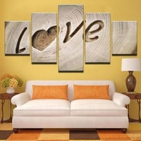 5 Pieces LOVE Wood Tree Cutout Bedroom Canvas Wall Art 5 Pieces Panel Picture