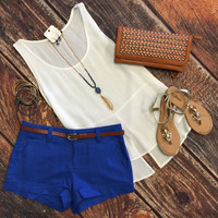 Belted Linen Shorts: Royal
