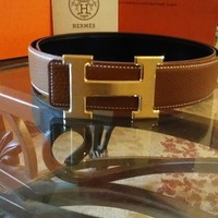 95CM Mens Brown Hermes Belt Leather Reversible