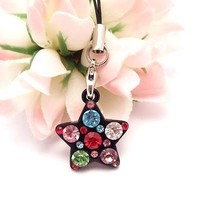 Black Star with Multi Stones Cell Phone Charm Strap Rhine Stone