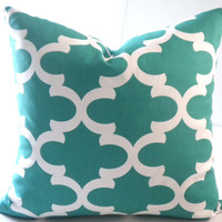 Teal quatrefoil morrocan print pillow cover, FABRIC BOTH SIDES, all sizes available