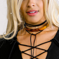 Thick Gold and Black Leather Wrap Choker