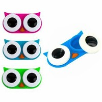 Kikkerland Owl Contact Lens Case, Assorted Colors, Pink/Blue/Green