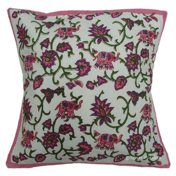 White Pink Elephant Hand Block Decorative Pillow For Living Room