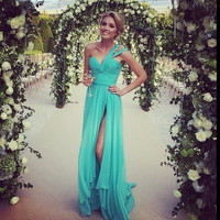 Dresscode Casual Mint long bridesmaid dress elegant wedding party dress One shoulder casual Evening dress  PD900150 = 1956900228
