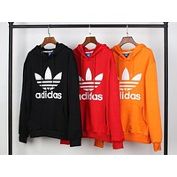 Adidas Fashion Women Men Comfortable Print Long Sleeve Hooded Sweater Pullover Top
