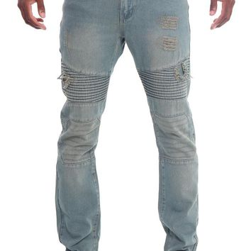 Ripped Slim Fit Moto Style Jeans