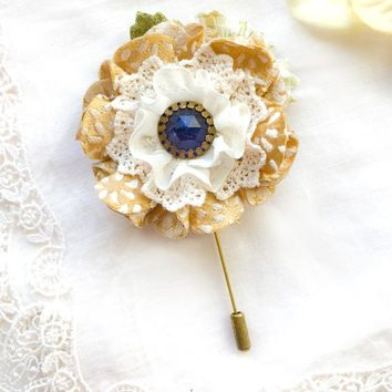 Floral Stick Pin ~ Golden Yellow Blossom