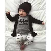 2018 Autumn Fashion Newborn Baby Boy Clothes Cotton Long sleeve Letter LAZY DAYS T shirt+Pants 2 Pcs Outfits Infant Clothing Set