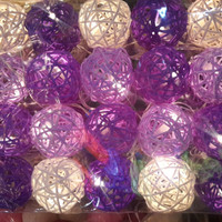 20 lights with beautiful purple rattan ball hanging string light mix color shaded outdoor patio lantern