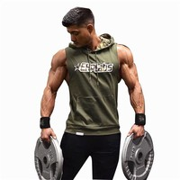 New Running Vest Hooded Mens Running Shirts Quick Dry Compression Tight Gym Tank Top Fitness Sleeveless T-shirts Sports