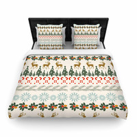 """Famenxt """"Christmas Vibes"""" Holiday Pattern Woven Duvet Cover"""