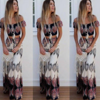Boho Retro Print Two-Piece Suit