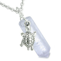 Amulet Turtle Lucky Charm Crystal Point Light Amethyst Pendant 22 Inch Necklace