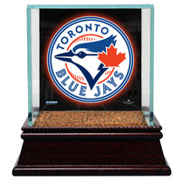 Toronto Blue Jays Glass Single Baseball Case with Team Logo Background and Authentic Field Dirt Base (MLB Auth)