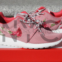 Nike Roshe One Run Geranium Pink Rose Bouquet Custom Womens