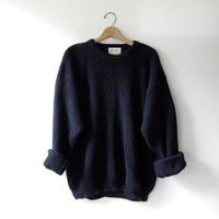90s chunky knit sweater. black loose knit pullover. oversized sweater.