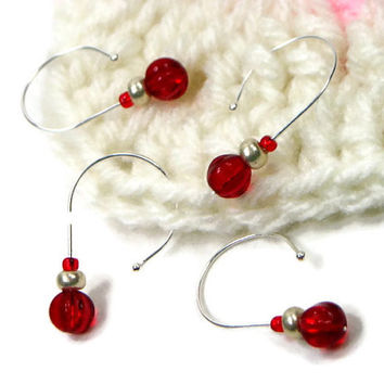 Removable Stitch Markers, Crochet, Snag Free, Beaded, Red, Silver, Gift for Crochet, Snagless, TJBdesigns
