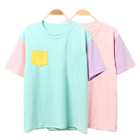 2017 Summer Style Fashion Women Harajuku Patchwork T Shirts Kawaii Cotton Short Sleeve Casual Tee Ladies Cute Tops
