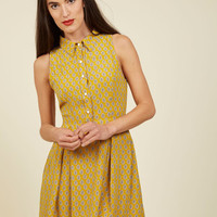 Atlanta Adventure A-Line Dress in Goldenrod Tile | Mod Retro Vintage Dresses | ModCloth.com