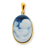 Agate & Cameo Baby Pendant in Yellow Gold - 14kt - Oval Shape - Tempting