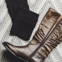 Black Cable Ribbed Knit Boot Cuffs