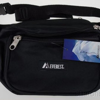 Everest Signature Fanny Waist Pack Black 3 Zipper Compartments Adjustable Large