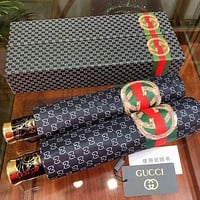 GUCCI Hot Sale New Men's and Women's Printed Letters High-end Automatic Umbrella