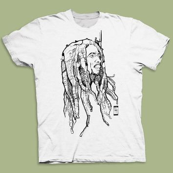 Bob Marley Dreads Design Men's Graphic Tee Sketch T-shirt Reggae-Jamaican T-Shirt Casual Short Sleeve For Men Clothing Summer