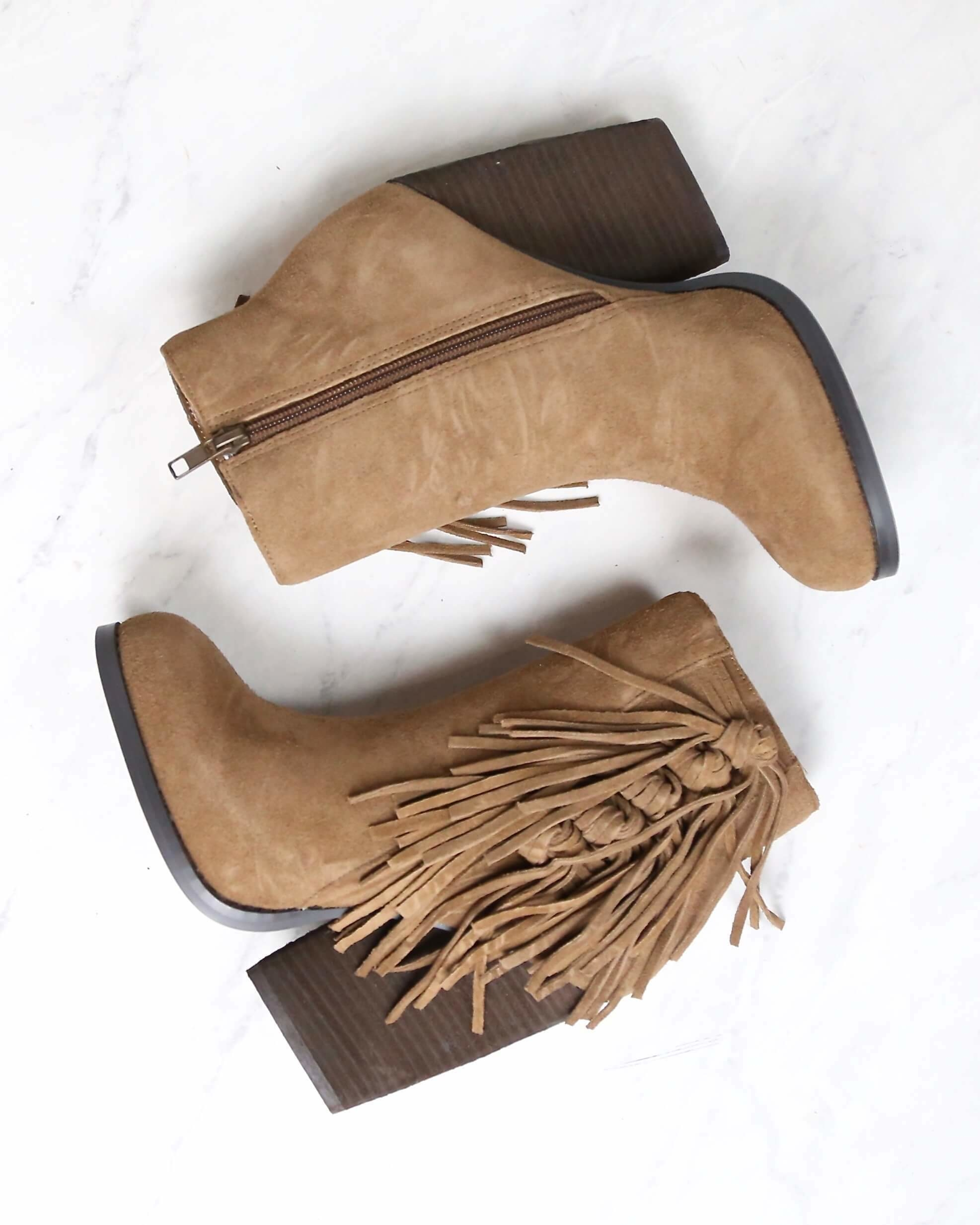 Image of Very Volatile - Dreamcatch Light Brown Suede Fringe Booties