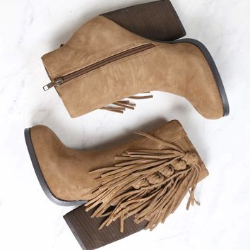Very Volatile - Dreamcatch Light Brown Suede Fringe Booties