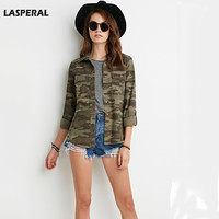 LASPERAL Camouflage Women Blusas Long Sleeve Turn Down Collar Shirt Single Breasted Pocket Military Style Casual Women Tops
