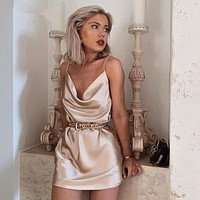2020 new women's sexy solid color suspender dress