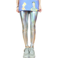90S hologram holographic galaxy sliver metalic grunge leggings tight