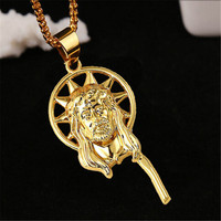 Womens Mens Handmade Gold Jesus Christ Pendant Necklace Best Christmas Gift